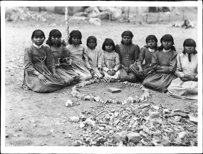 Group of nine Havasupai girls playing 'Hue-ta-queech-e-ka'