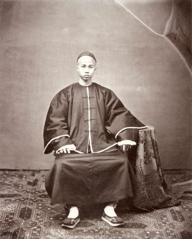 A Cantonese man dressed for Chinese New Year, Canton, 1861-64