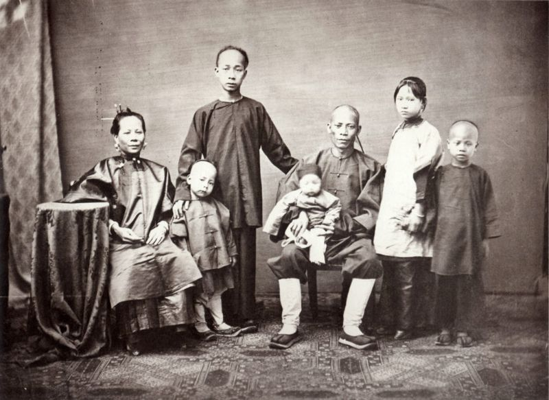 A shopkeeper and his family, Canton, 1861-64