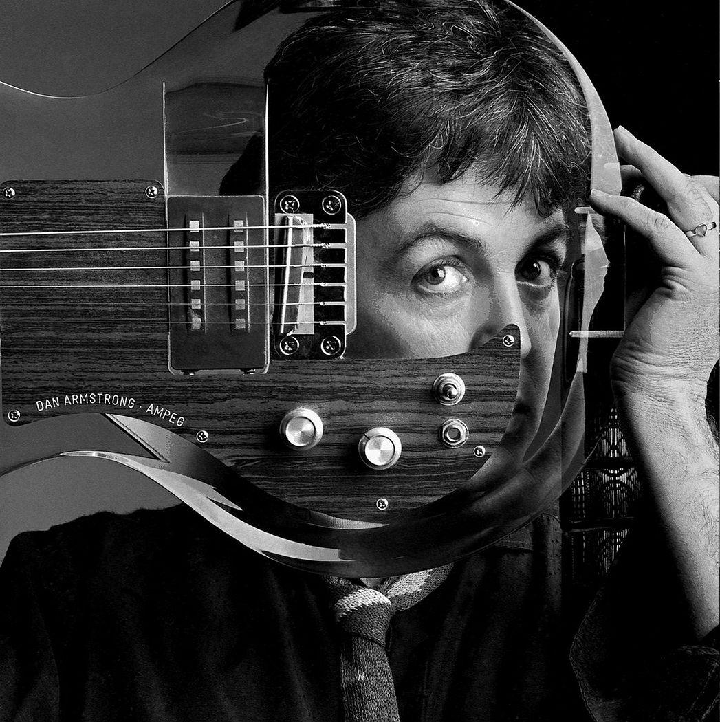 Clive Arrowsmith Paul McCartney, Plexiglass Guitar, Studio London Archival Pigment Photograph 1982, Printed Later