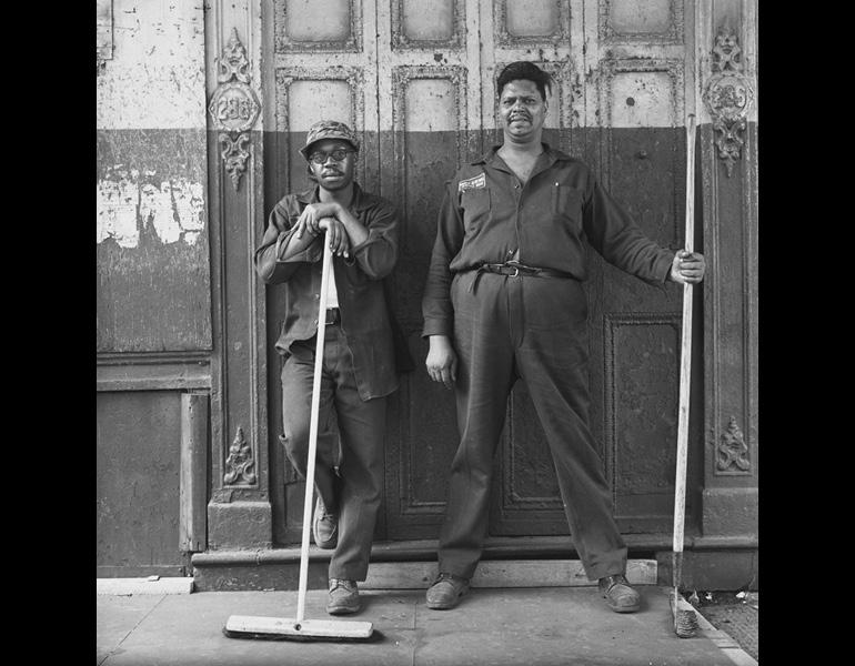 Eddie Grant and Cleveland Sims, Washington Street Maintenance Men from the New York City Department of Urban Renewal, 1966–67. Danny Lyon (American, born 1942). Gelatin silver print; 24.8 x 24.7 cm. The Cleveland Museum of Art, Gift of George Stephanopoulos, 2011.265. © Danny Lyon / Magnum Photos