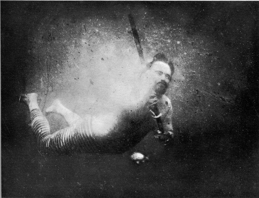 Louis Boutan self-portrait (first underwater selfie) in 1893 (Public Domain).