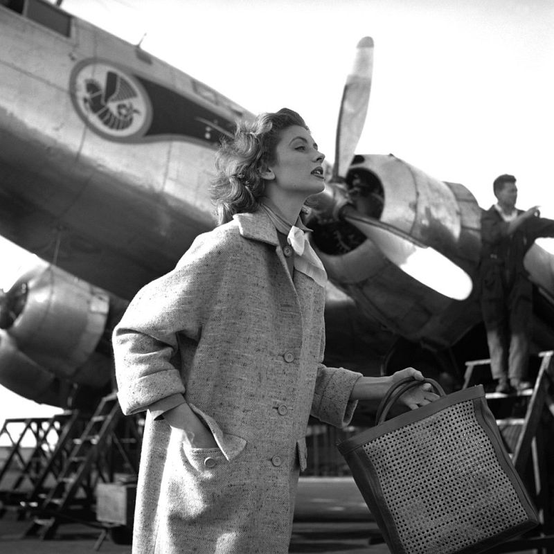 Georges Dambier Suzy Parker Casablanca Airport, Magazine Elle 1953