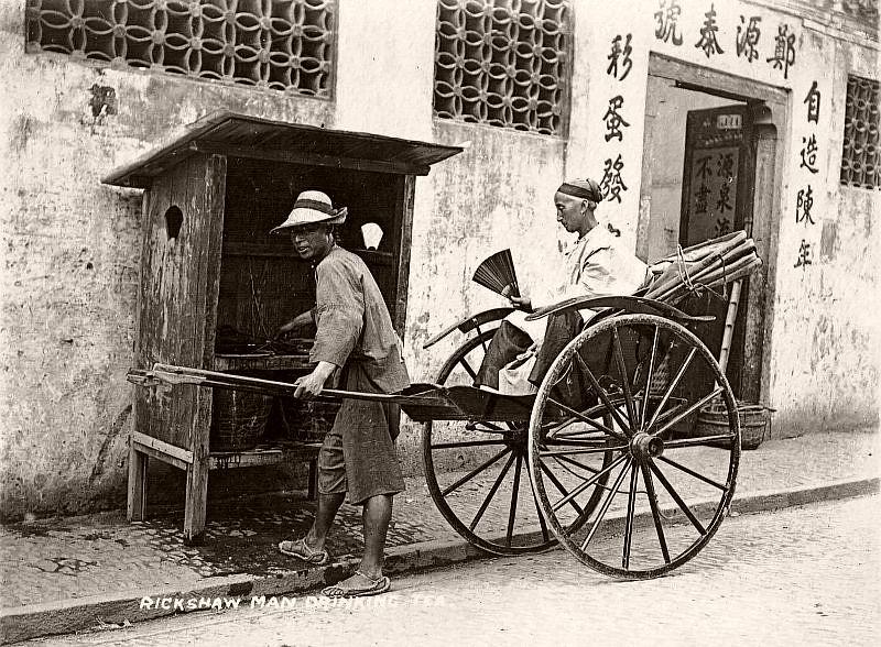 Rickshaw man drinking tea