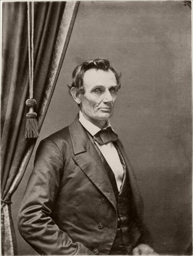 """September 26, 1858 – (attributed to Christopher S. German) """"In 1858 Lincoln and Douglas had a series of joint debates in this State, and this city was one place of meeting. Mr. Lincoln's step-mother was making her home with my father and mother at that time. Mr. Lincoln stopped at our house, and as he was going away my mother said to him: """"Uncle Abe, I want a picture of you."""" He replied, """"Well, Harriet, when I get home I will have one taken for you and send it to you."""" Soon after, mother received the photograph, which she still has, already framed, from Springfield, Illinois, with a letter from Mr. Lincoln, in which he said, """"This is not a very good-looking picture, but it's the best that could be produced from the poor subject."""" He also said that he had it taken solely for my mother."""" —Mr. K. N. Chapman of Charleston, Illinois, great-grandson of Sarah Bush Lincoln."""