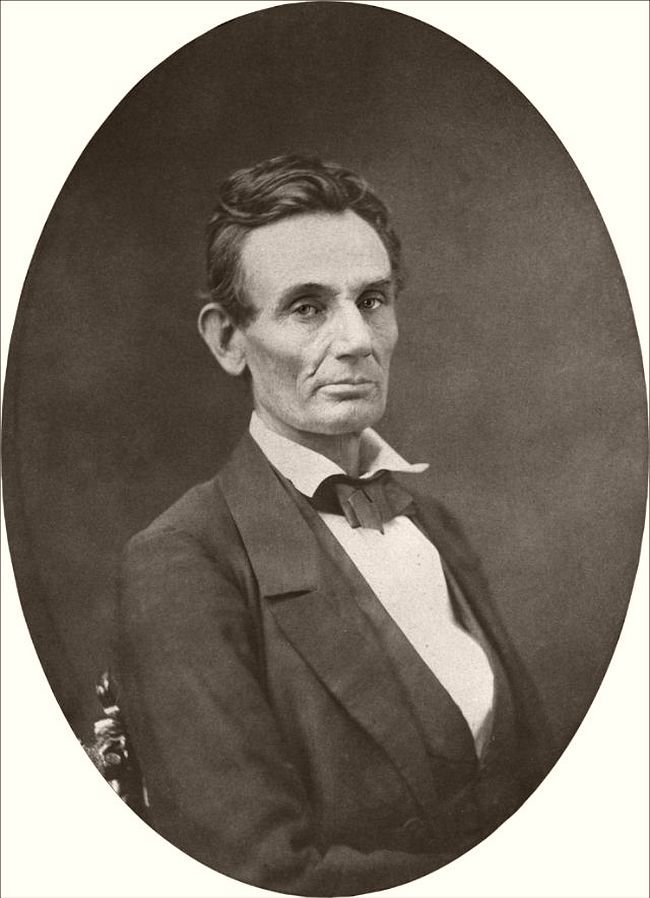 """October 4, 1859 – Samuel M. Fassett Lincoln sat for this portrait at the gallery of Cooke and Fassett in Chicago. Cooke wrote in 1865 """"Mrs. Lincoln pronounced [it] the best likeness she had ever seen of her husband."""""""