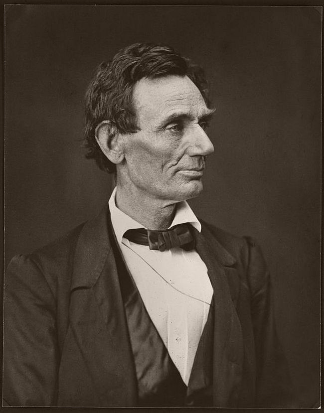 """June 3, 1860 – Alexander Hesler Hesler took a total of four portraits at this sitting. Lincoln's law partner William Herndon wrote of this picture: """"There is the peculiar curve of the lower lip, the lone mole on the right cheek, and a pose of the head so essentially Lincolnian; no other artist has ever caught it."""""""