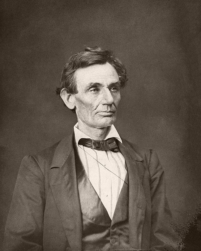 """June 3, 1860 – Alexander Hesler When Lincoln saw this photograph, along with his side view portrait from the same sitting, he remarked """"That looks better and expresses me better than any I have ever seen; if it pleases the people I am satisfied."""""""