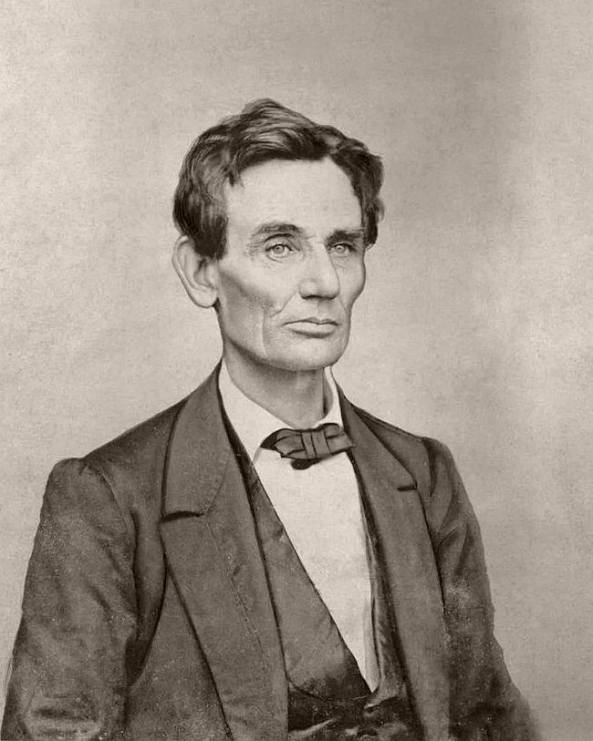 1860 (spring or summer) – William Shaw This image has been heavily retouched at some point. Lincoln's neck, skin and cheek lines are smoothed out, and the bag under the right eye has been diminished.