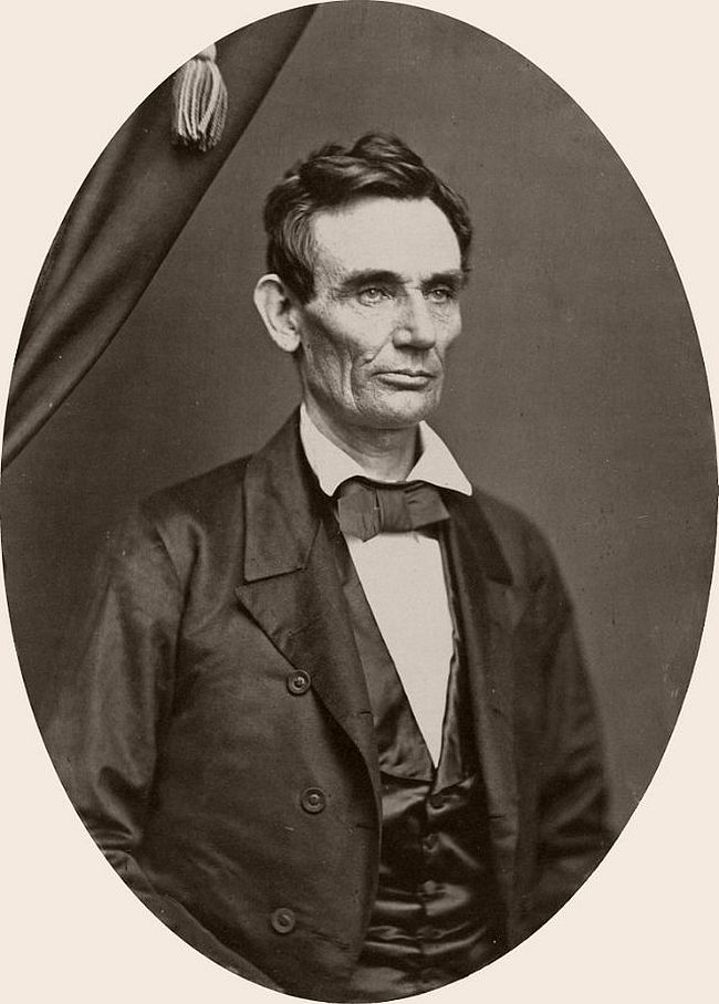 """1858 – Roderick M. Cole """"...the Photo you have of Abraham Lincoln is a copy of a Daguerreotype, that I made in my gallery in this city [Peoria] during the Lincoln and Douglas campaign. I invited him to my gallery to give me a sitting...and when I had my plate ready, he said to me, 'I cannot see why all you artists want a likeness of me unless it is because I am the homeliest man in the State of Illinois.'"""" —R.M. Cole, July 3, 1905 letter to David McCulloch. Lincoln liked this image and often signed photographic prints for admirers. In fact, in 1861, he even gave a copy to his stepmother. The image was extensively employed on campaign ribbons in the 1860 Presidential campaign, and Lincoln """"often signed photographic prints for visitors."""""""