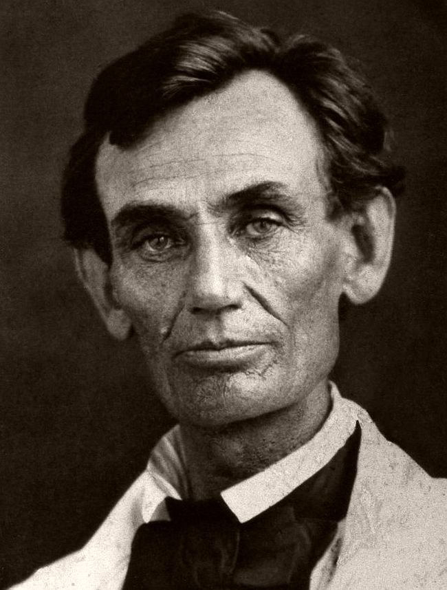 May 7, 1858 – Abraham M. Byers Formerly in the Lincoln Monument collection at Springfield, Illinois. Mr. Lincoln wore a linen coat on the occasion. The picture is regarded as a good likeness of him as he appeared during the Lincoln Douglas campaign.