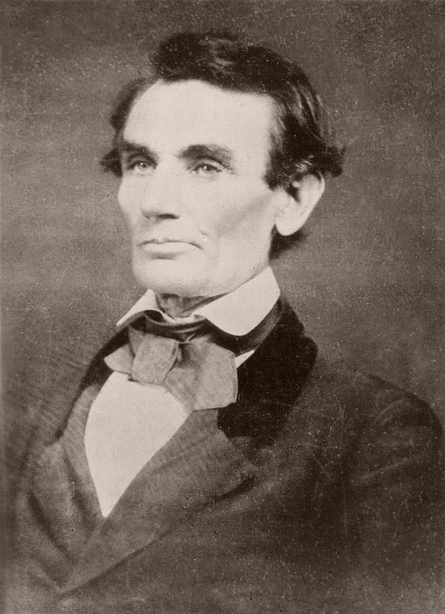 """May 25, 1858 – Samuel G. Alschuler """"At the time I was [a young] clerk of the circuit court, and was about as well acquainted with Mr. Lincoln as with most of the forty-odd lawyers who practiced law in the circuit... On the opening day of court, which was always an interesting occasion, largely because we were curious to see what attorneys from a distance were in attendance...I observed that Mr. Lincoln was among them; and as I looked in his direction, he arose from his seat, and came forward and gave me a cordial hand-shake, accompanying the action with words of congratulation on my election. I mention this fact because the conduct of Mr. Lincoln was so in contrast with that of the other members of the bar that it touched me deeply, and made me, ever afterwards, his steadfast friend."""" —C. F. Gunther of Chicago, circa 1896 Letter. """"One morning I was in the gallery of Mr. Alschuler, when Mr. Lincoln came into the room and said he had been informed that he (Alschuler) wished him to sit for a picture. Alschuler said he had sent such a message to Mr. Lincoln, but he could not take the picture in that coat (referring to a linen duster in which Mr. Lincoln was clad), and asked if he had not a dark coat in which he could sit. Mr. Lincoln said he had not; that this was the only coat he had brought with him from his home. Alschuler said he could wear his coat, and gave it to Mr. Lincoln, who pulled off the duster and put on the artist's coat. Alschuler was a very short man, with short arms, but with a body nearly as large as the body of Mr. Lincoln. The arms of the latter extended through the sleeves of the coat of Alschuler a quarter of a yard, making him quite ludicrous, at which he (Lincoln) laughed immoderately, and sat down for the picture to be taken with an effort at being sober enough for the occasion. The lips in the picture show this."""" —Mr. J. O. Cunningham, present when the picture was take."""