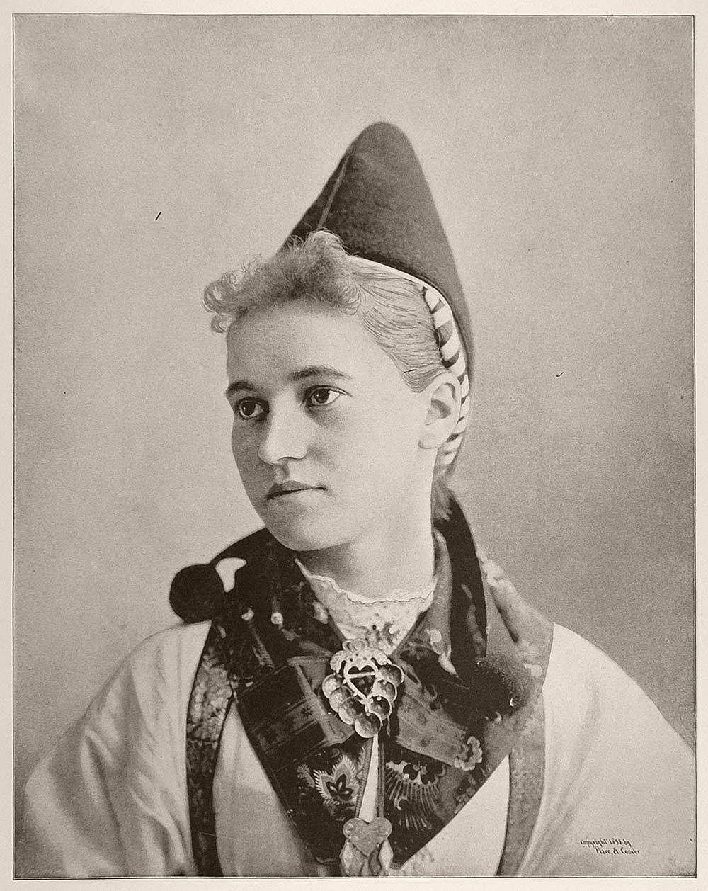 Margarette Olsen, a young Swedish peasant woman from Dalecarlia, Sweden.