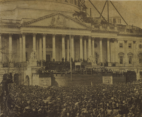 """""""Inauguration of Abraham Lincoln,"""" March 4, 1861, salt print, attributed to Alexander Gardner (1821–1882). Bowdoin College Museum of Art, Brunswick, Maine"""