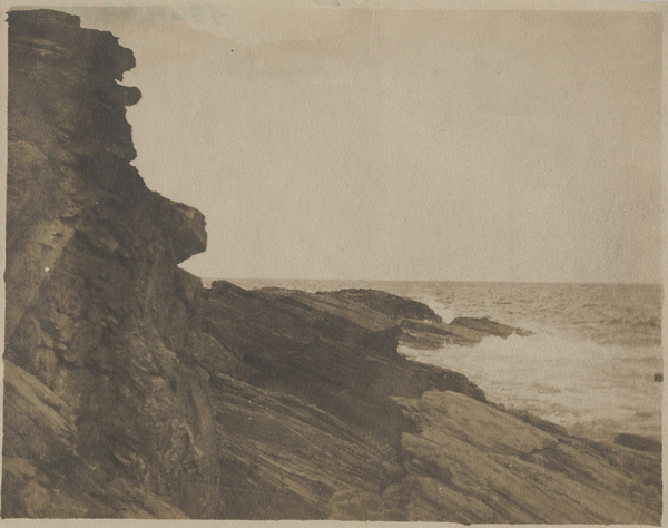 """""""Cliff at Prout's Neck,"""" ca. 1885, albumen silver print by Winslow Homer. Bowdoin College Museum of Art."""