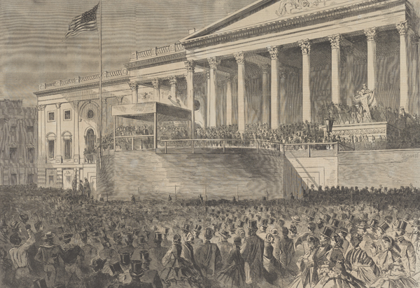 """""""The Inauguration of Abraham Lincoln as President of the United States at the Capitol,"""" wood engraving, published in Harper's Weekly, March 16, 1861, by Winslow Homer. Bowdoin College Museum of Art, Brunswick, Maine."""