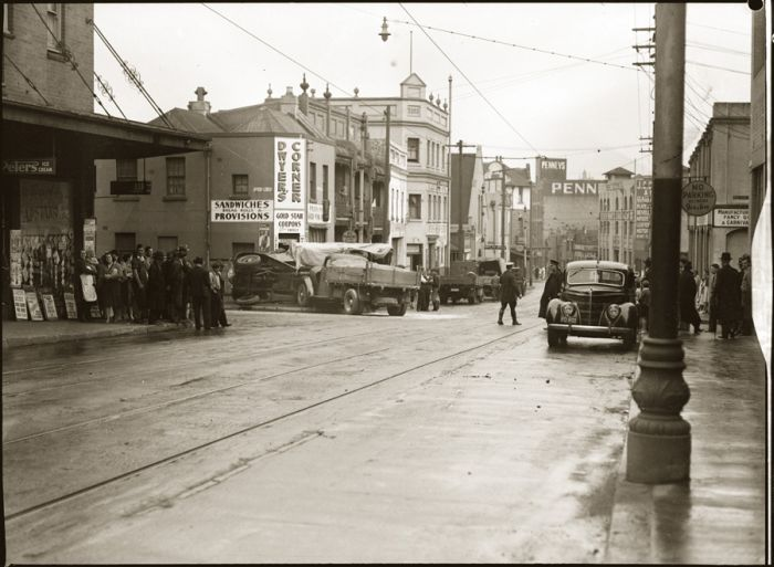 Streetscape, scene of accident involving two trucks, corner Balfour and Meagher Streets, Chippendale, early 1940s.