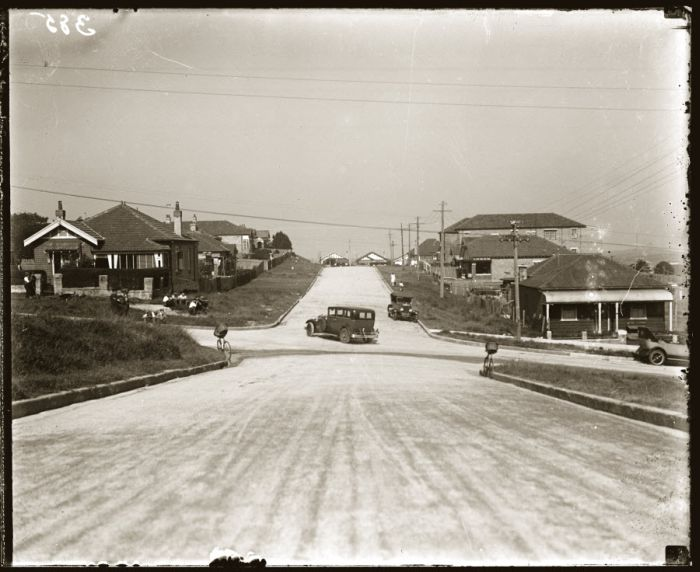 Streetscape, scene of motor accident, early 1920s, location and details unknown. Possibly somewhere in the Eastern Suburbs, Sydney. NSW Police Forensic Photography Archive, Justice and Police Museum, Sydney Living Museums.