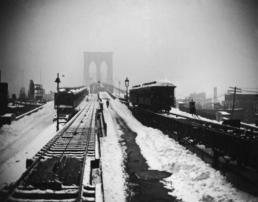 Trains Crossing The Brooklyn Bridge