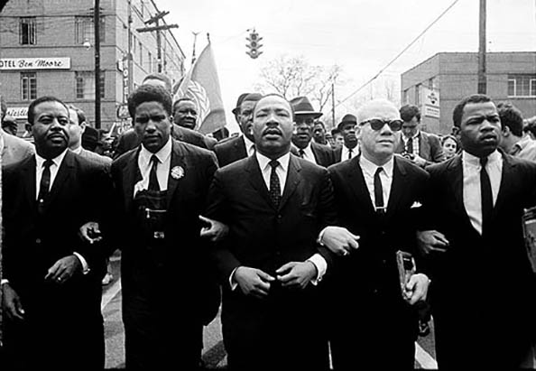 Steve Schapiro Martin Luther King Marching for Voting Rights with John Lewis, Reverend Jesse Douglas, James Forman and Ralph Abernathy, Selma, 1965