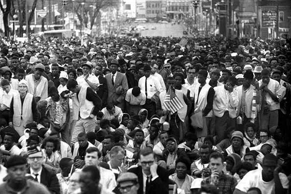 Stephen Somerstein Crowd listening raptly to speech of Dr. Martin Luther King at the foot of State Capital. Selma to Montgomery, Alabama Civil Rights March 25, 1965