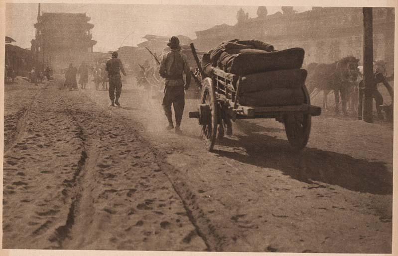 Peking-China-in-1920s-Along the sunlit dusty street (Near the Yung T'ing Men)