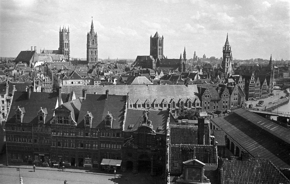 View from the tower of Gravensteen castle (Château des Comtes de Flandre) in Ghent. 1934