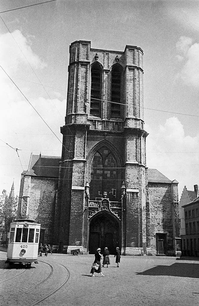Tram at Saint Michael's Church, Ghent, Belgium, 1934