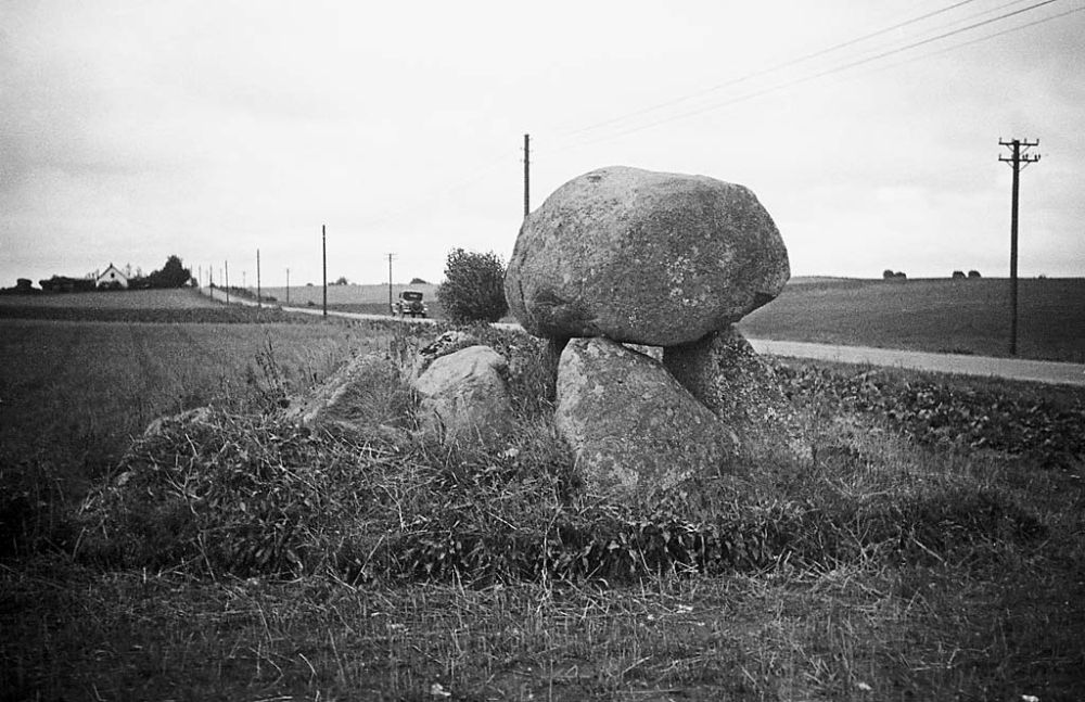 Stone Age dolmen by a road in Bregninge at the island of Lolland.