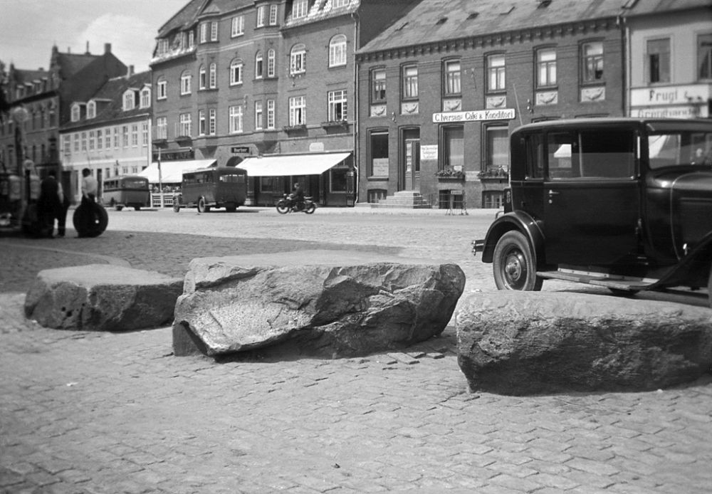 """Ting"" stones outside St. Bendt's Church in Ringsted. The prehistoric or medieval ""ting"" in Scandinavia was an assembly of free men to administer justice, elect kings or leaders, etc. The place where the ""ting"" was hold was often marked with stones."