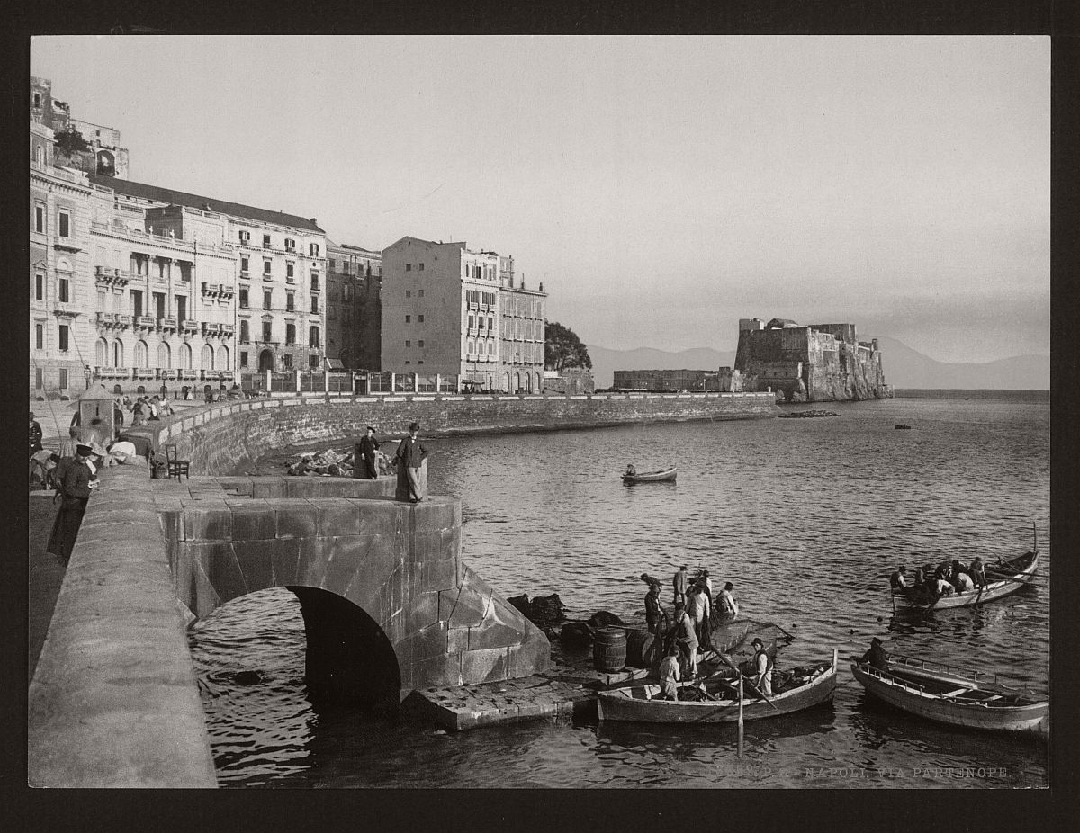 Historic bw photos of naples italy in 19th