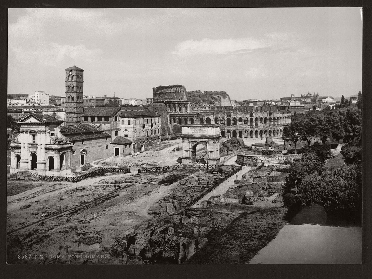 Historic bw photos of rome italy in the