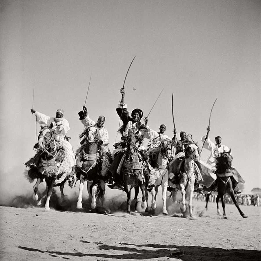 "CHAD. Chari-Baguirmi. N'Djamena (formerly Fort Lamy). Hassau chieftains demonstrate their superb horsemanship in a ""Fantasia"". 1941."