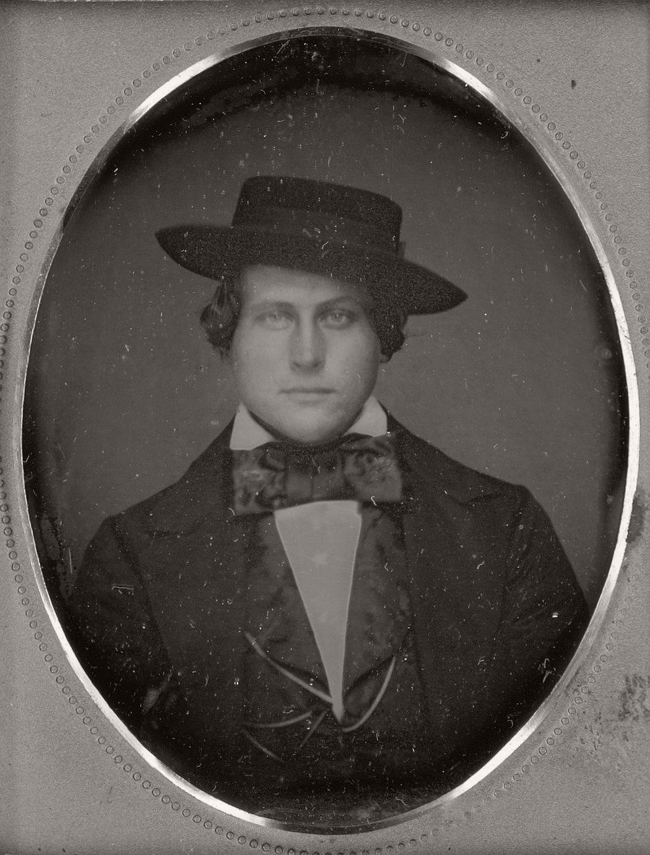 victorian era daguerreotypes of men in hats 1850s