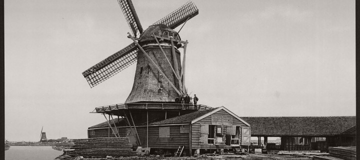 Vintage: Historic B&W photos of Dutch Windmills in 19th Century