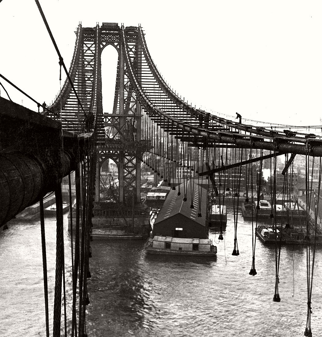 Vintage: Manhattan Bridge Under Construction - attaching the drop cables, 1903