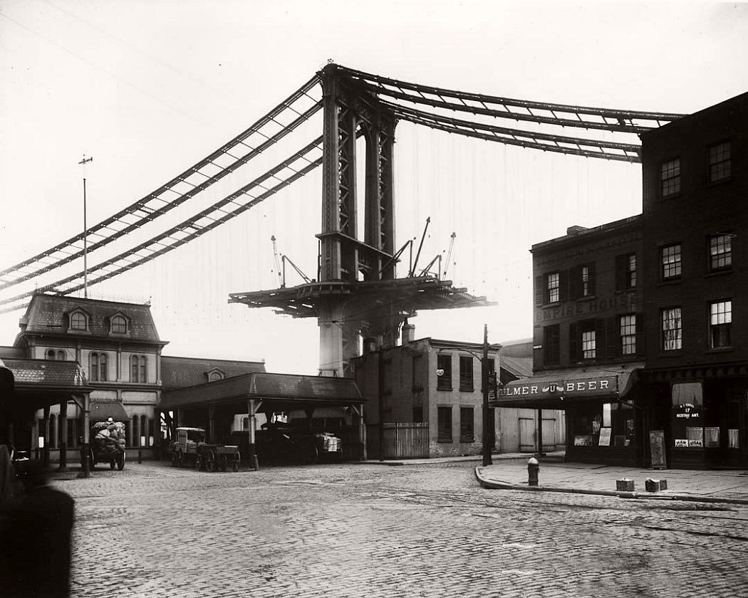 Vintage: Manhattan Bridge Under Construction, New York, 1909