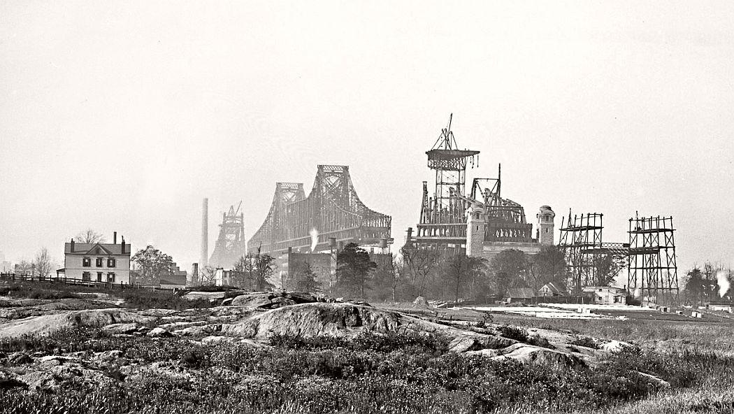 Vintage: Queensboro Bridge Under Construction, New York in 1908