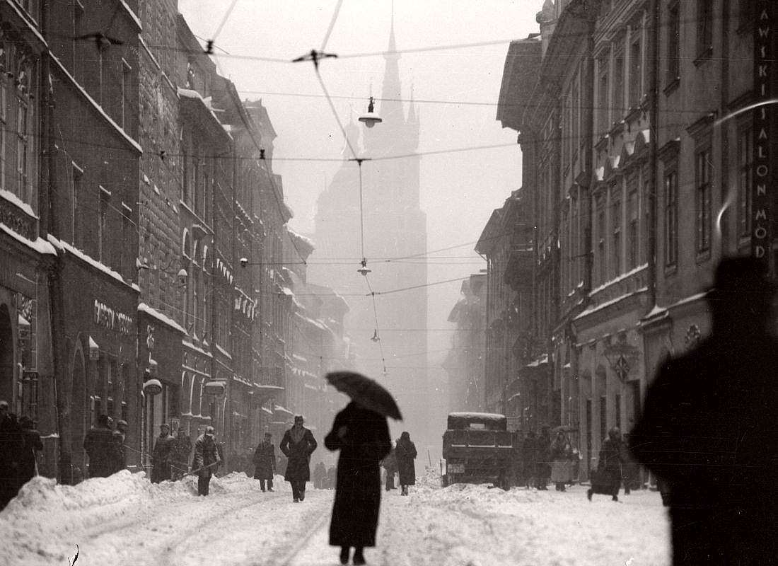 Floriańska Street in Krakow, 1936