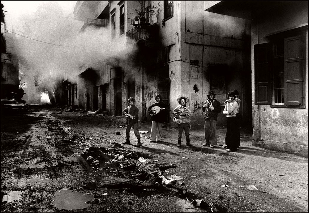 Lebanon civil war, young Christians with the body of a Palestinian girl, Beirut, Lebanon, 1976