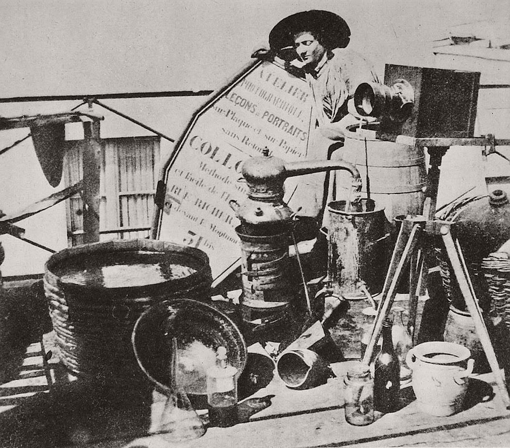 Felix J.A. Moulin with his photographic material.Paris, 1860's.