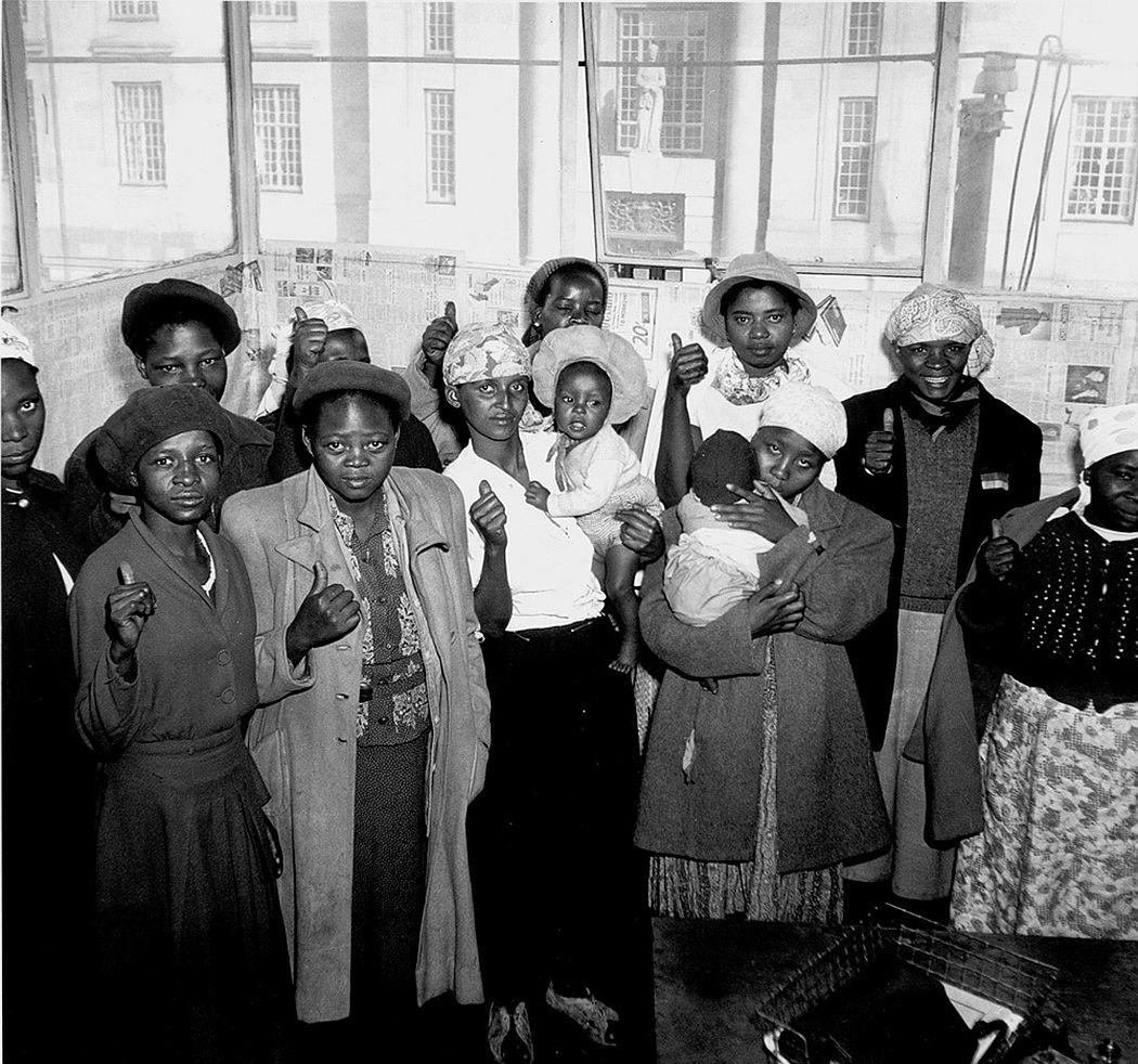 Women in Defiance at the ANC office opposite the Supreme Court, Johannesburg 1952