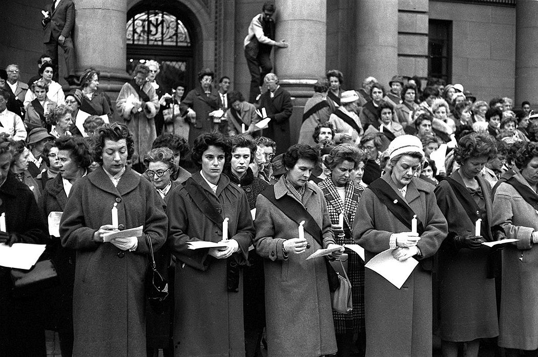 """The Black Sash"", an organisation of white women against Apartheid Laws, demonstrated, often on a daily basis, in front of the Johannesburg City Hal 1960l"