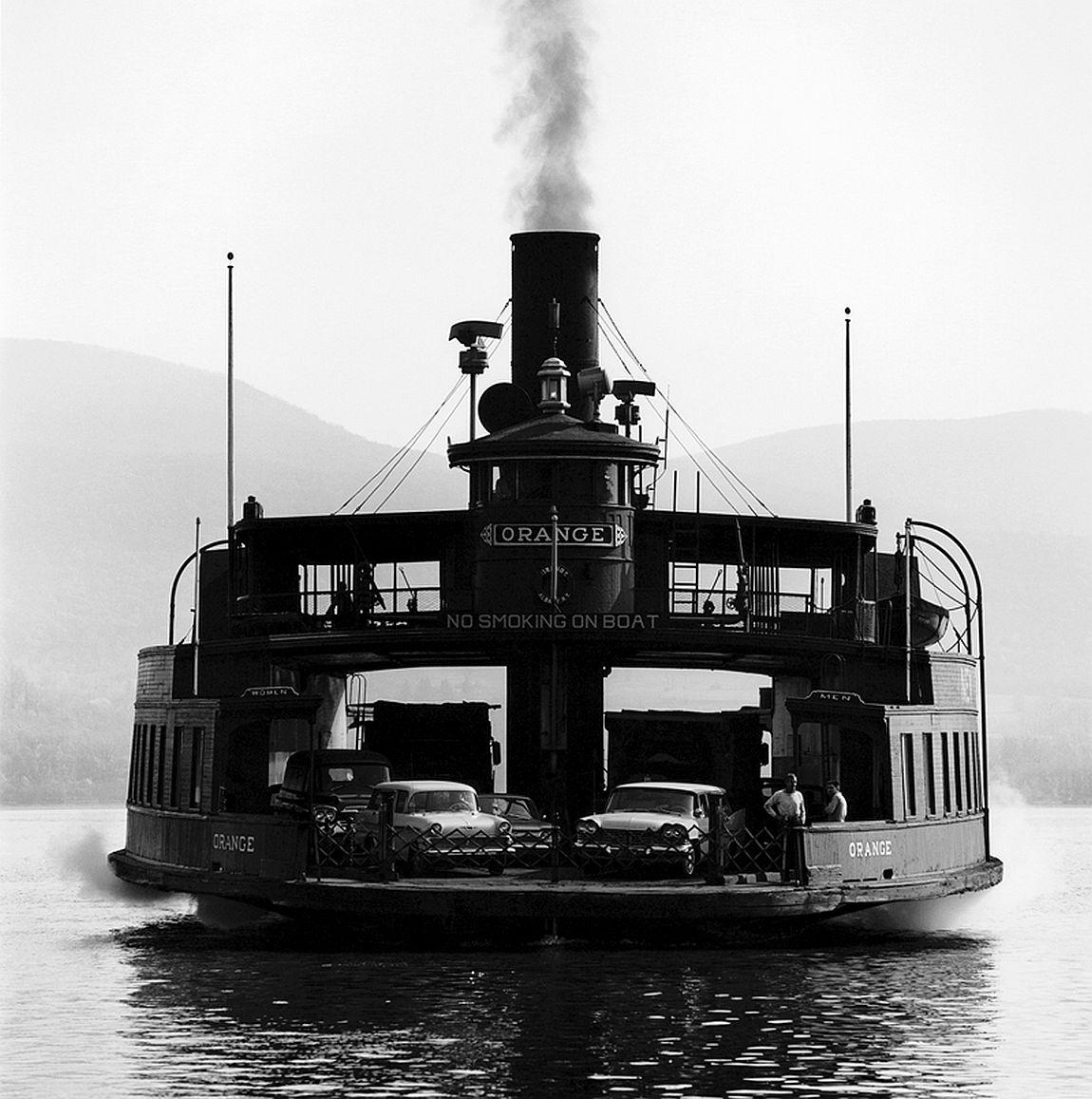 Ferryboat Orange Newburgh Beacon Ferry in Hudson River Newburgh New York 1963 NBF-1163-182