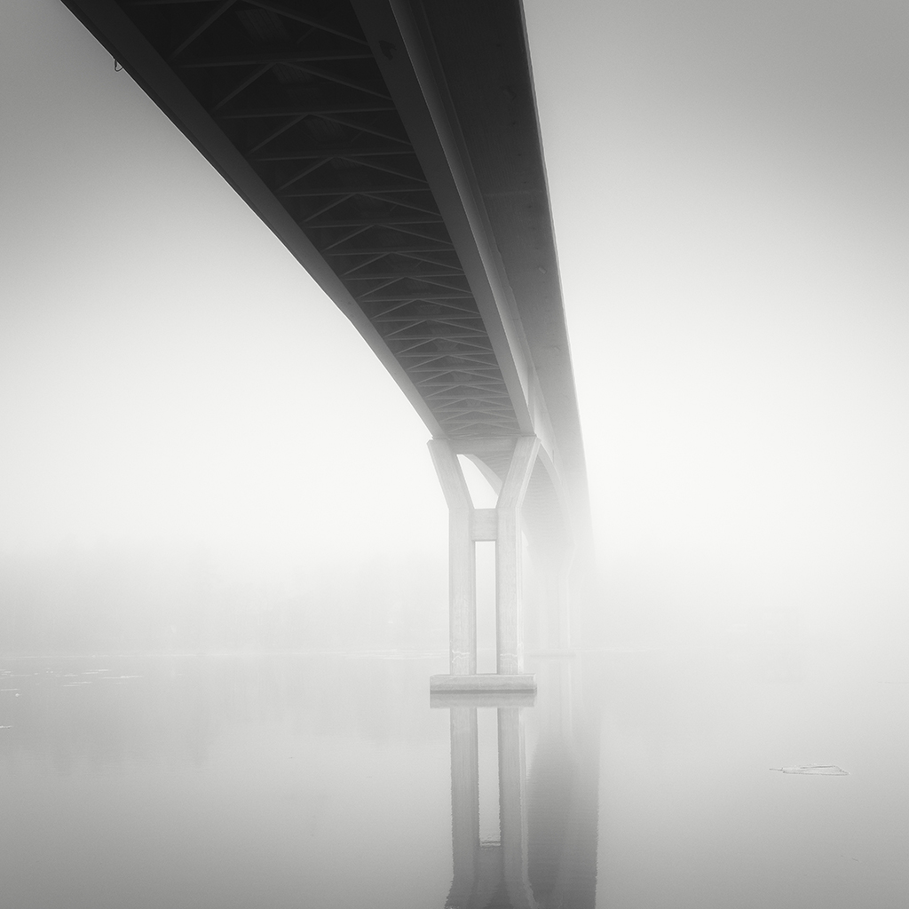 Bridge of Emäsalo on a foggy day