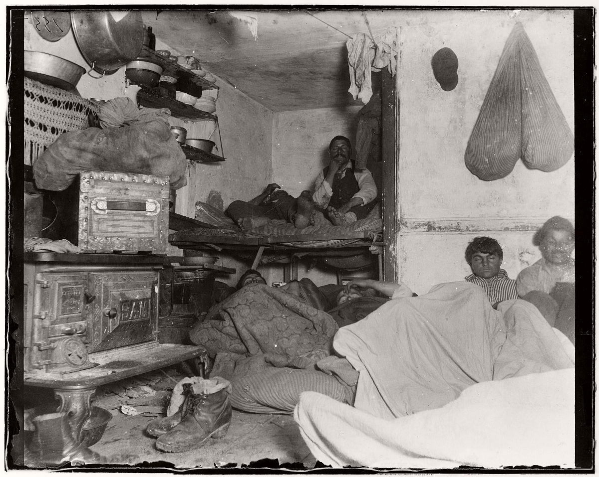"Lodgers in a crowded Bayard Street tenement - ""Five cents a spot"