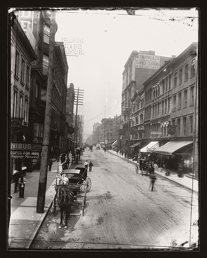 Fourth and Race Streets, gelatin silver contact print, 2013, from glass-plate negative, 1888 or 1889.  Collection of Mike Hoeting