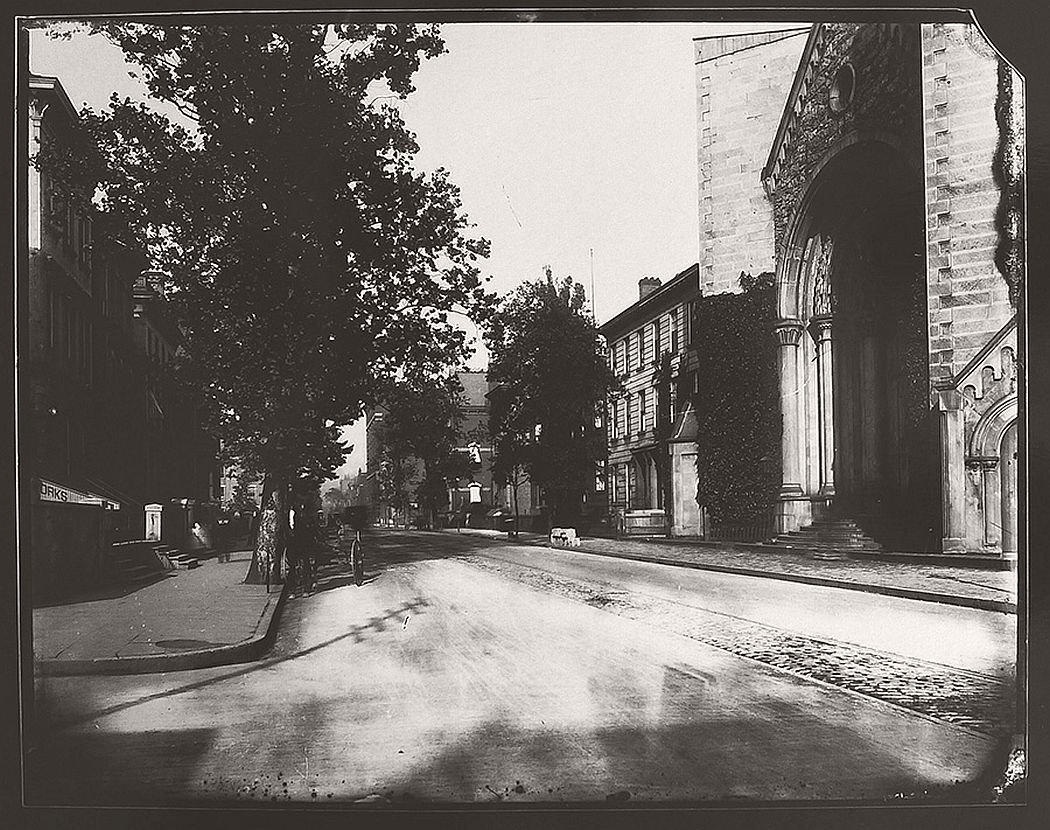 7th and Plum Streets with Streetcar Track and St. Paul's Cathedral, gelatin silver contact print, 2013, from glass-plate negative, late 1880s.  Collection of Jeffrey J. McClorey