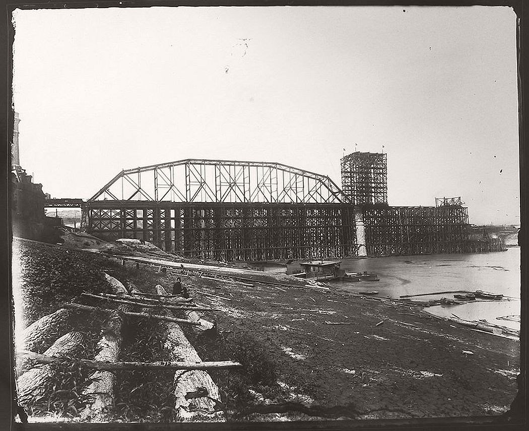 Chesapeake & Ohio Railroad Bridge, Under Construction, August 4,1888, gelatin silver contact print, 2013, from original glass plate negative, 1888.  Collection of Jeffrey J. McClorey