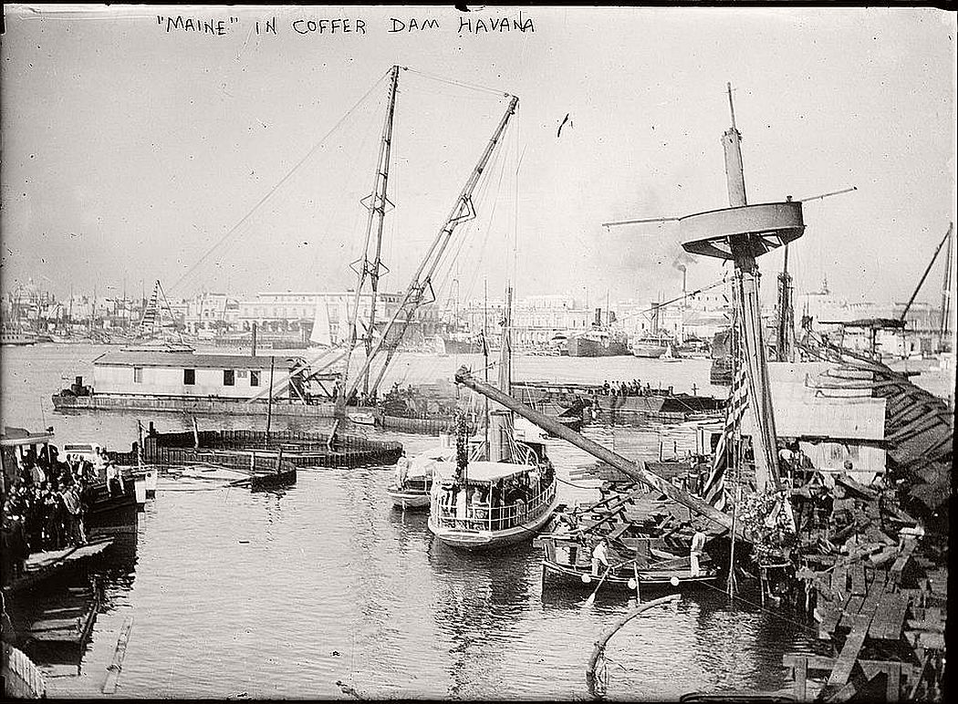 USS Maine in cofferdam, Havana, ca. 1910-15